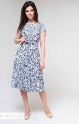 Платье F&K 3481-1 Белый/Синий/Принт