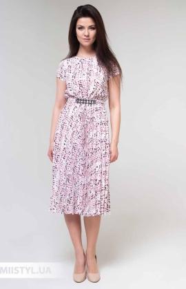 Платье F&K 3481-1 Белый/Пудра/Принт