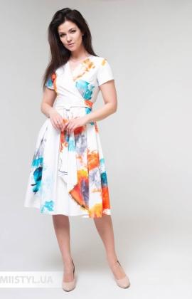 Платье La Fama 1551 Белый/Оранжевый/Принт