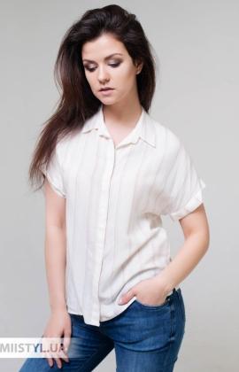 Блуза Merkur 0199009 Молочный/Пудра/Полоска