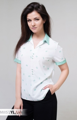 Блуза Merkur 0515023 Белый/Мятный/Принт