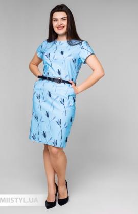 Платье La Fama 1547-B Голубой/Принт