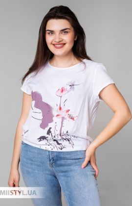 Блуза MC 1606-1 Молочный/Розовый/Принт