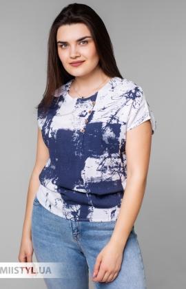 Блуза MC 1606-2 Молочный/Джинсовый/Принт