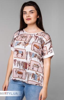 Блуза Pretty Lolita 13148 Молочный/Бежевый/Принт