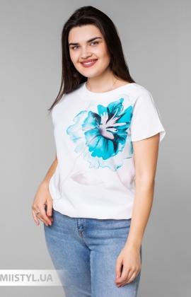 Блуза Cliche 4039809 Белый/Мятный/Принт