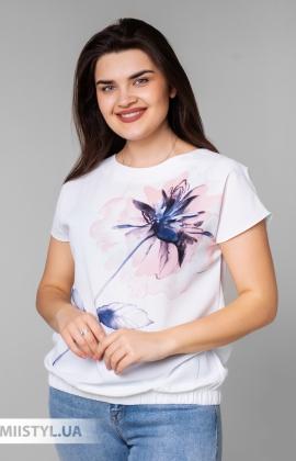 Блуза Cliche 4039809 Белый/Пудра/Принт