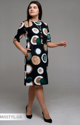 Платье La Fama LFX-1496B Черный/Зеленый/Принт
