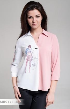 Блуза Cliche 4064735 Белый/Пудра