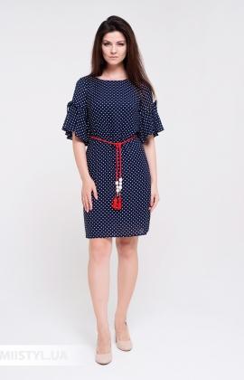 Платье Lady Morgana 5041 Темно-синий/Белый/Горох
