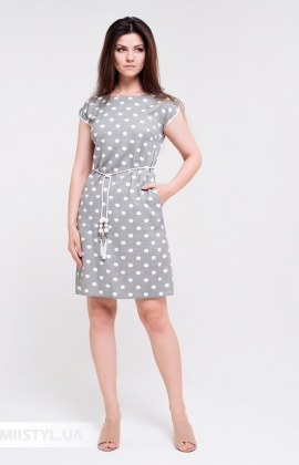 Платье Lady Morgana 5037 Хаки/Белый/Горох