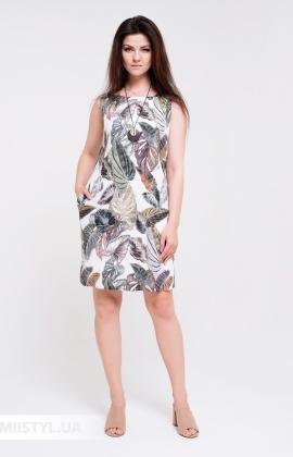 Платье Macca 20S803 Белый/Хаки/Принт