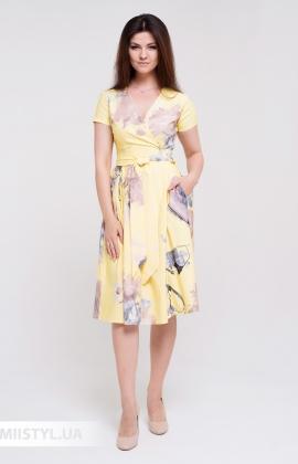 Платье La Fama 1551 Желтый/Кемел/Принт