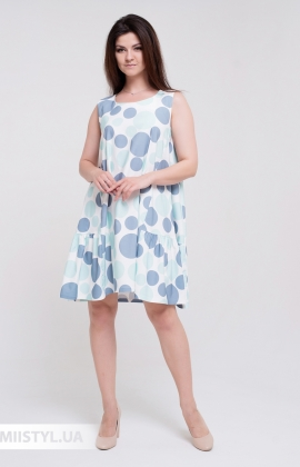 Платье La Fama 1545 Белый/Мятный/Горох