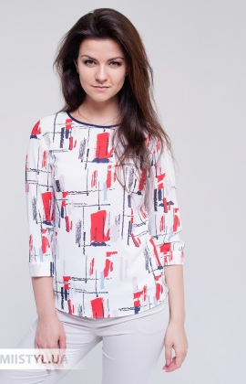 Блуза Moda Linda 4450 Белый/Красный/Принт