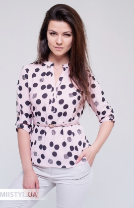 Блуза Moda Linda 3272 Пудра/Черный/Горох