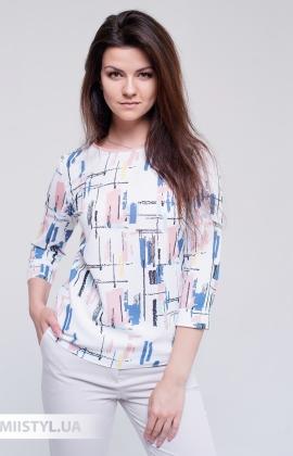 Блуза Moda Linda 4450 Белый/Пудра/Принт
