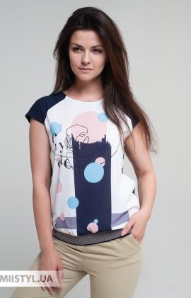 Блуза Cliche 4724795 Темно-синий/Пудра/Принт