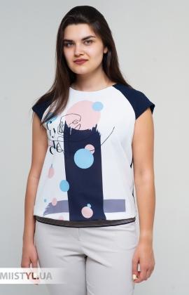 Блуза Cliche 4729795 Темно-синий/Пудра/Принт
