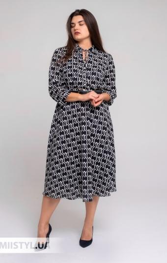 Платье Fusion 3014 Черный/Белый/Принт