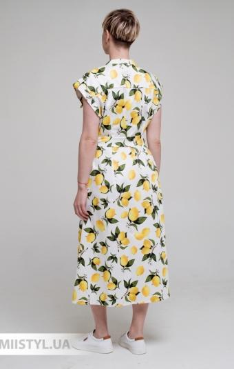 Платье Barbara Aluisi 21V7362 Белый/Лимонный/Принт