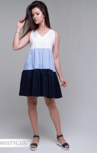 Сарафан Lumina L3711 Белый/Голубой
