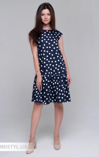 Платье Lady Form 5787 Темно-синий/Белый/Горох