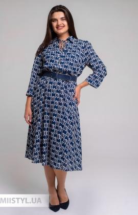 Платье Fusion 3014 Синий/Пудра/Принт