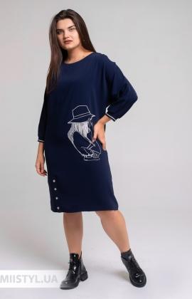 Платье Fusion 3002 Темно-синий/Принт