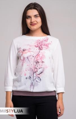 Блуза Merkur 0626054 Молочный/Розовый/Принт