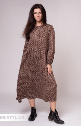 Платье Zelante 5607-8 Коричневый/Принт