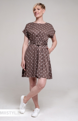 Платье Asil 550/19995 Коричневый/Белый/Горох