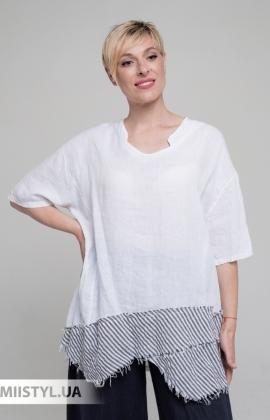 Блуза Miss Cocco 6037 Белый/Серый/Полоска