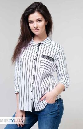 Блуза Fusion 75436A Белый/Черный/Полоска