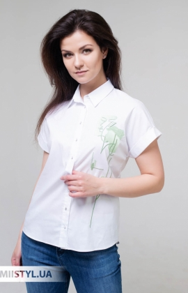 Блуза Merkur 0395021 Белый/Мятный/Принт