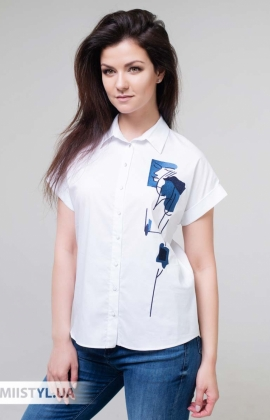 Блуза Merkur 0395021 Белый/Синий/Принт