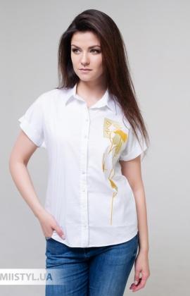 Блуза Merkur 0395021 Белый/Горчичный/Принт