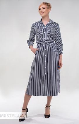 Платье Effective 12079 Темно-синий/Белый/Полоска