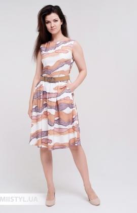 Платье La Fama 1582 Белый/Кемел/Принт