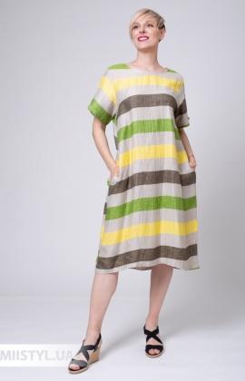 Платье Zelante 7250 Бежевый/Зеленый/Полоска