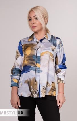 Блуза Merkur 0075133 Голубой/Оливковый/Принт
