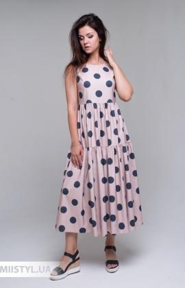 Платье Lady Form 5790 Бежевый/Темно-синий/Горох